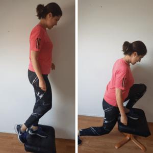 reverse lunge vanaf verhoging